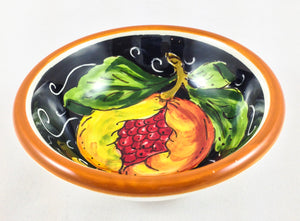 "Borgioli - Pomegranates on Black Pinzimonio Bowl 10cm (3.9"")"