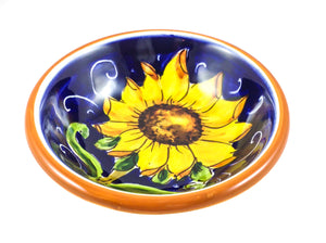 "Borgioli - Sunflower on Blue - Pinzimonio Bowl - 10cm (3.9"")"
