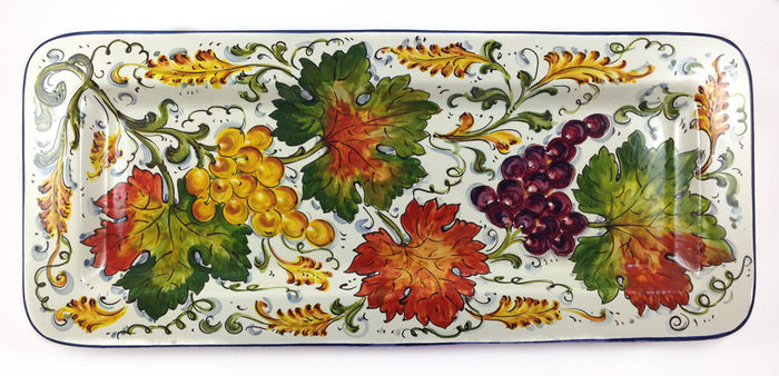 "Borgioli Grapes Rectangular Platter - 25cm x 55cm (9.8"" x 21.6"")"