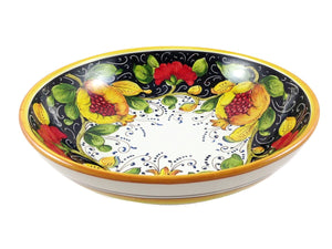 "Borgioli - Pomegranates on Black - Salad Bowl - 30cm (11.8"")"