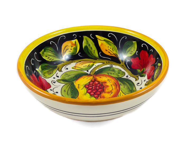 "Borgioli - Pomegranates on Black - Cereal Bowl - 17cm (6.7"")"
