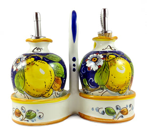 Borgioli - Lemons on Blue - Oil & Vinegar Cruets