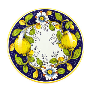 Borgioli Lemons on Blue Dinner Plate