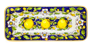"Borgioli Lemons on Blue Rectangular Platter - 25cm x 55cm (9.8"" x 21.6"")"