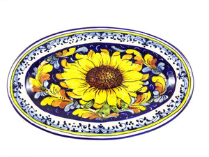 "Borgioli - Sunflower on Blue - Oval Platter 17cm x 28cm (6.7""x11"")"