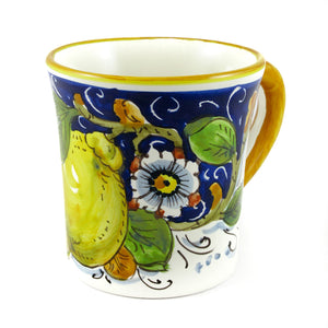 Borgioli Lemons on Blue Mug