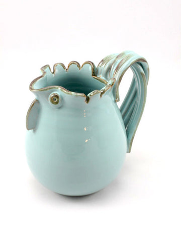 Blue 1/2 Litre Rooster Pitcher made by hand outside Florence, Italy by Ceramiche Fiorentine