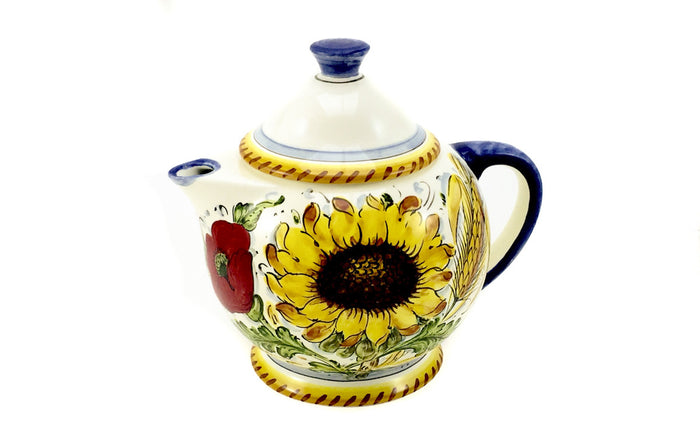 Borgioli Sunflowers on White Tea Pot