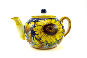 Borgioli Sunflower on Blue Tea Pot