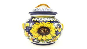 Borgioli - Sunflower on Blue Small Biscotti Jar