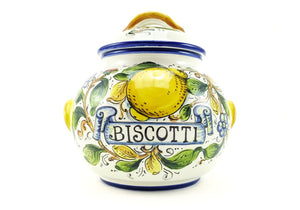 Borgioli - Lemons on White - Large Biscotti Jar