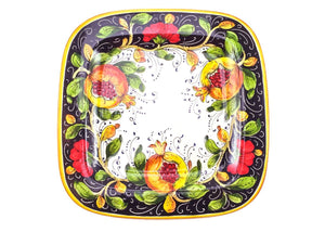 "Borgioli - Pomegranates on Black - 34cm x 34cm Square Platter (13.4"" x 13.4"")"