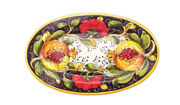 "Borgioli - Pomegranates on Black - 17cm x 28cm Oval Platter (6.7"" x 11"")"