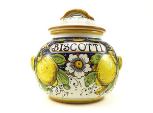 Borgioli Lemons on Blue Large Biscotti Jar