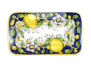 "Borgioli Lemons on Blue Rectangular Platter - 20cm x 34cm (7.9"" x 13.4"")"