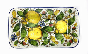"Borgioli - Lemons on White - Rectangular Platter 20cm x 34cm (7.8"" x 13.4"")"