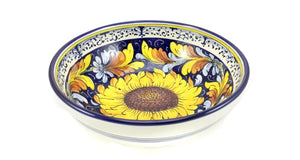 "Borgioli - Sunflower on Blue - Salad Bowl - 25cm (9.8"")"