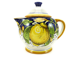Borgioli Lemons on Blue Tea Pot