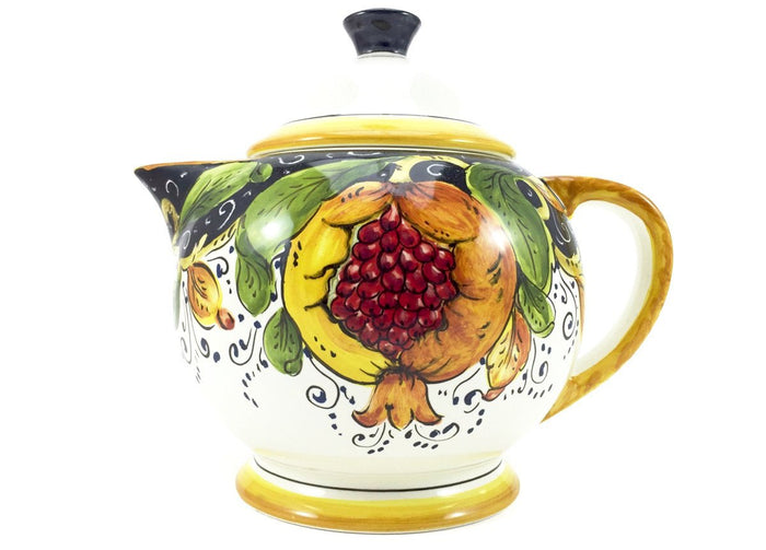 Borgioli Pomegranates on Black Tea Pot