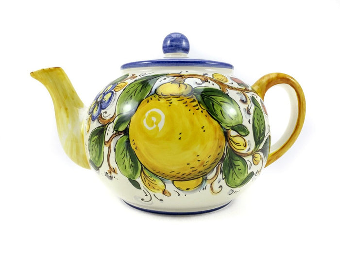 Borgioli Lemons on White Tea Pot