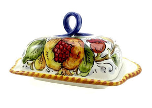 Borgioli - Pomegranates on White - Butter Dish