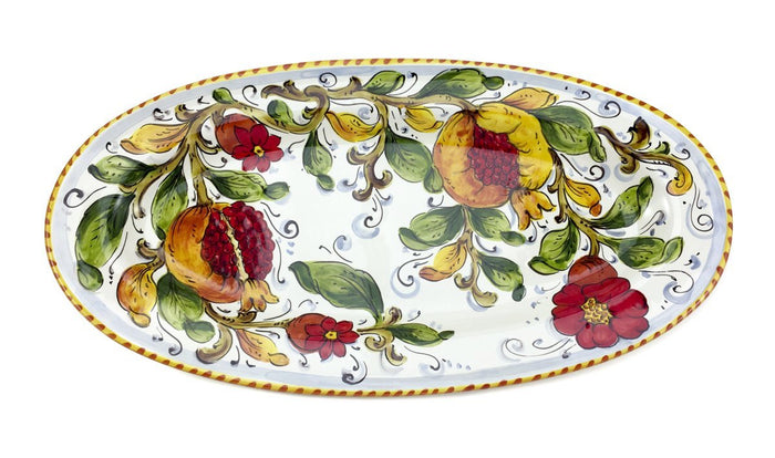 "Borgioli - Pomegranates on White - 22cm x 42cm Oval Platter (8.6"" x 16.5"")"