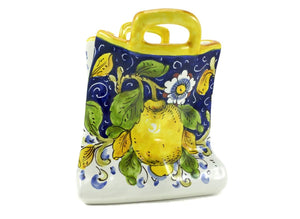 Borgioli - Lemons on Blue Sack Utensil Holder