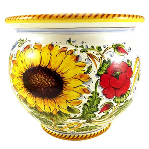 Borgioli Sunflower on White Cache Pot-Planter