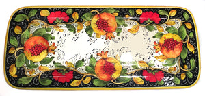 "Borgioli Pomegranate on Black Rectangular Platter - 25cm x 55cm (9.8"" x 21.6"")"