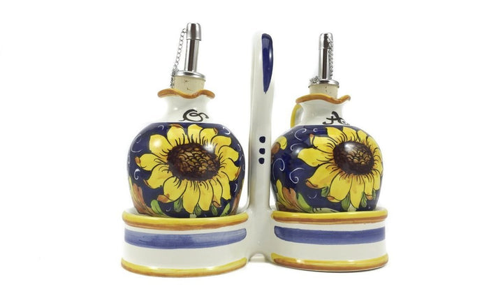 Sunflower on Blue - Oil and Vinegar Cruets with Caddy