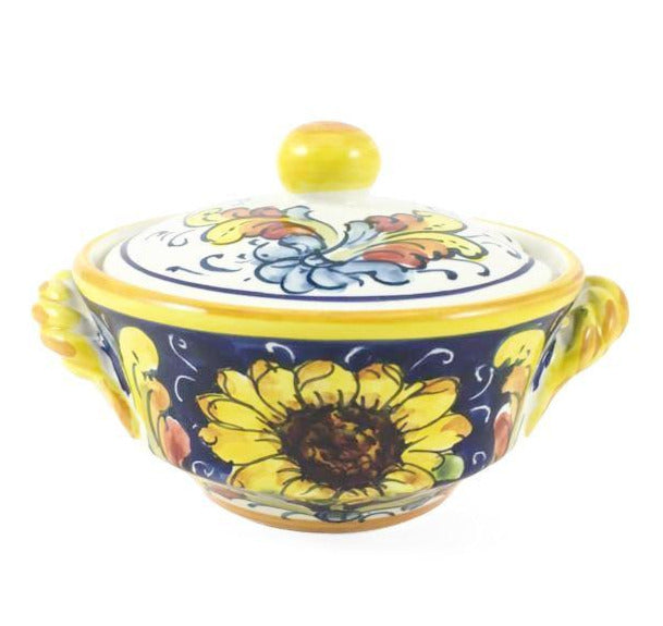 Borgioli Sunflower on Blue Sugar Bowl