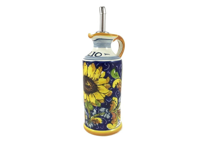 "Borgioli - Sunflower on Blue - Oil Cruet - 15cm (5.9"")"