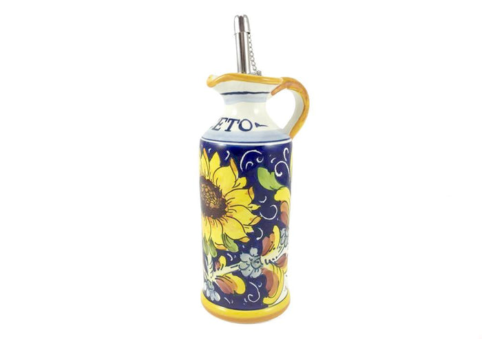 "Borgioli - Sunflower on Blue - Vinegar Cruet - 15cm (5.9"")"