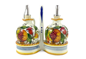 Borgioli - Pomegranates on White - Oil & Vinegar Cruet Set
