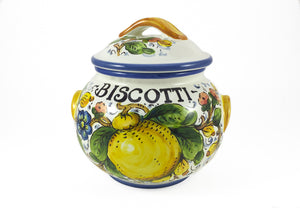 Borgioli Lemons on White Small Biscotti Jar