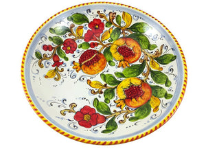 "Borgioli - Pomegranates on White - Salad Bowl - 35cm (13.8"")"