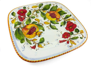 "Borgioli - Pomegranates on White - 34cm x 34cm Square Platter (13.4"" x 13.4"")"