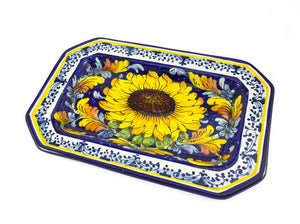 "Borgioli - Sunflower on Blue - 29cm x 20cm Octagonal Platter (11.4"" x 7.9"")"