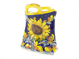 Borgioli Sunflower on Blue Sack Utensil Holder