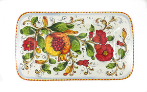 "Borgioli - Pomegranates on White - 20cm x 34cm Rectangular Platter (7.9"" x 13.4"")"