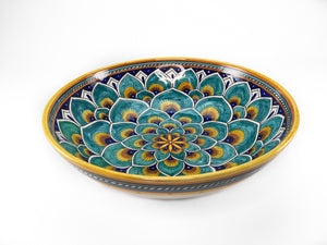 "Sberna Peacock Aqua Serving Bowl - 30cm (12"")"