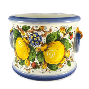 Borgioli - Lemons on White 25cm Cache Pot-Planter