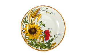 Borgioli Sunflower on White Salad Plate - 1/2 Decor
