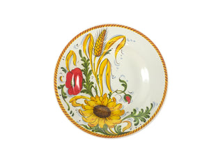Borgioli Sunflower on White Pasta Bowl - 1/2 Decor