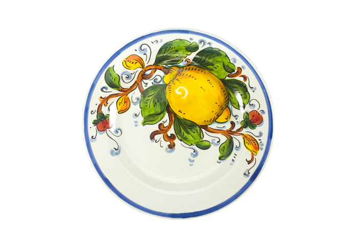 Borgioli Lemons on White Salad Plate - 1/2 Decor