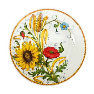 Borgioli Sunflower on White Dinner Plate - 1/2 Decor