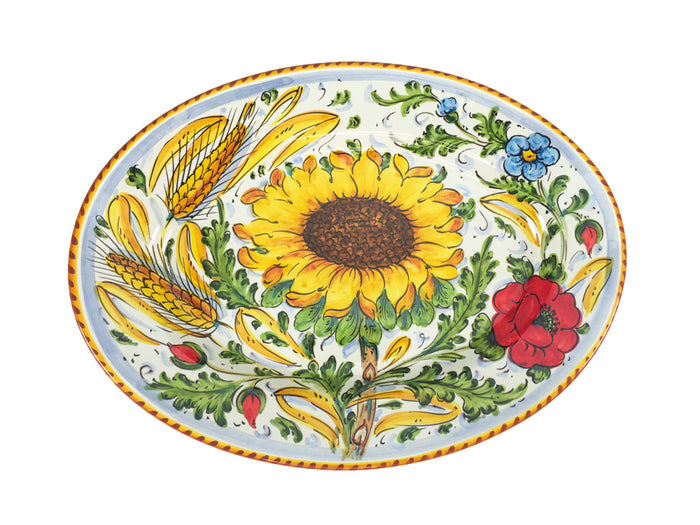 "Borgioli - Sunflower on White - 27cm x 37cm Oval Platter (10.6"" x 14.5"")"