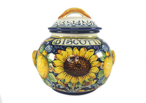 Borgioli - Sunflower on Blue Large Biscotti Jar