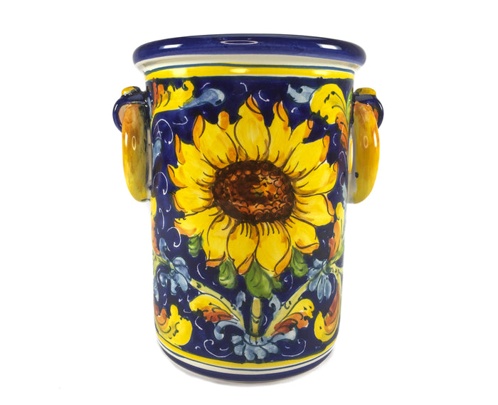 Borgioli Sunflower on Blue Bottle or Utensil Holder