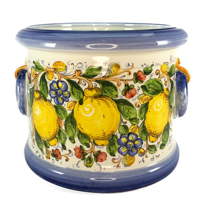 Borgioli - Lemons on White 35cm Cache Pot-Planter